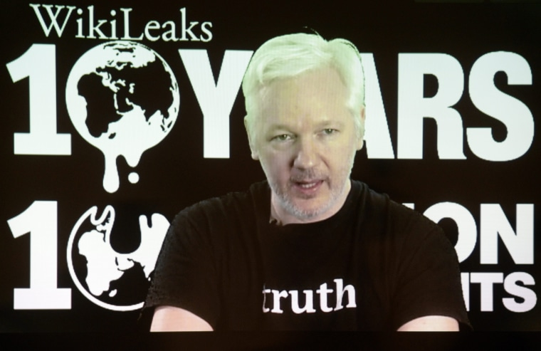 Image: Video appearence of Wikileaks founder Julian Assange