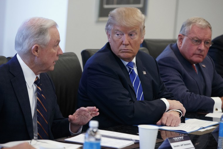 Image: Donald Trump, Jeff Sessions, Keith Kellogg