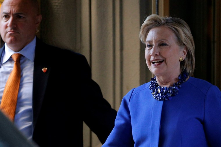 Image: U.S. Democratic presidential nominee Hillary Clinton departs a campaign finance event in New York