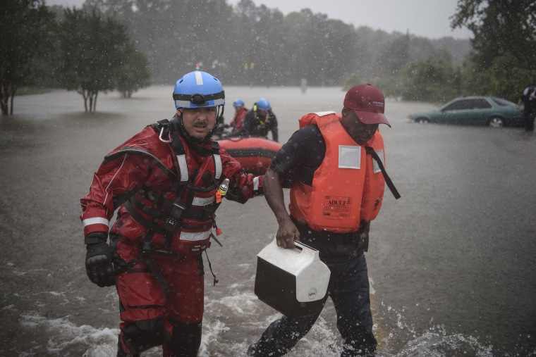 Image: A water rescue team member in Fayetteville, N.C. on Saturday.