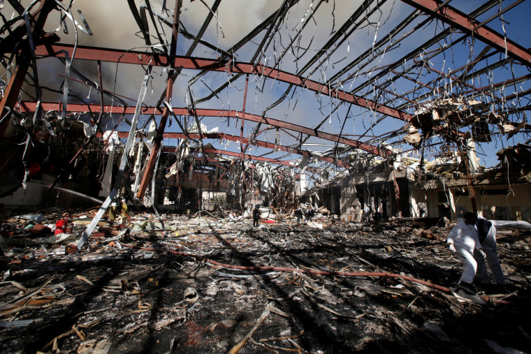 Image: View of community hall where Saudi-led warplanes struck funeral in Sanaa, the capital of Yemen