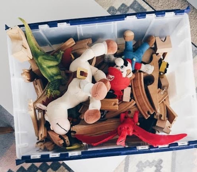 This box contains all of Allie Casazza's four kids' toys.