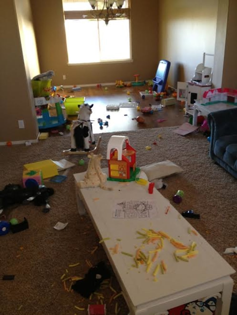 Toys blanketed the floor of the children's playroom before Allie Casazza decided to go minimalist.