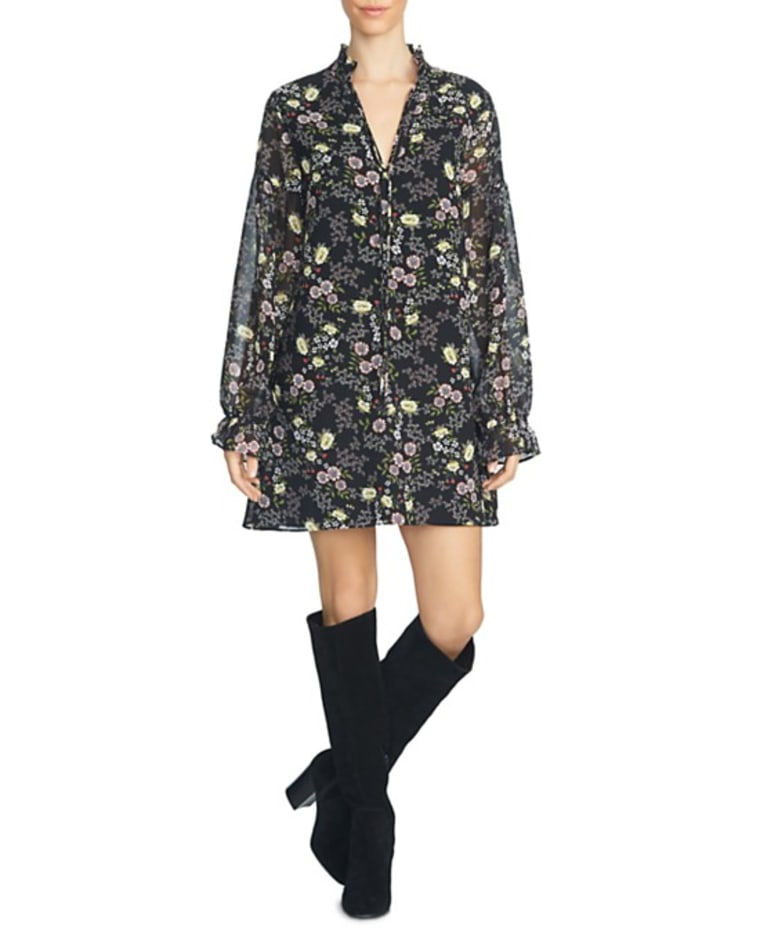 Floral Tie Neck Shift Dress