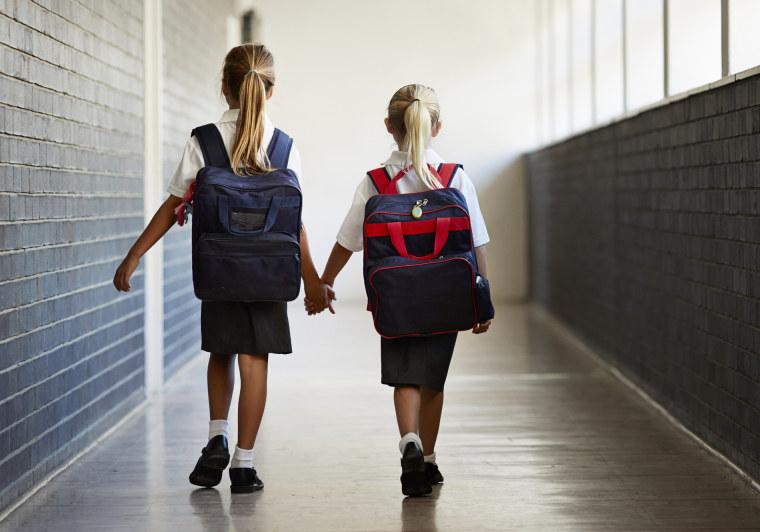 Image: Schoolgirls walking hand in hand at school isle