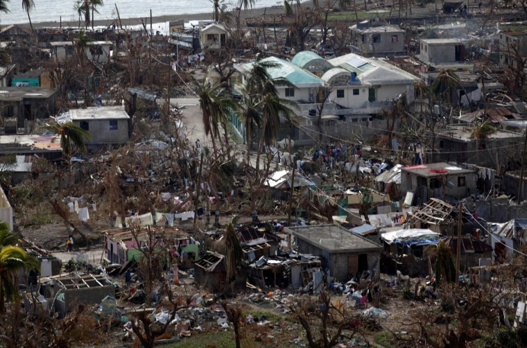 Image: Houses destroyed by Hurricane Matthew in Coteaux, Haiti
