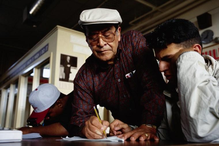 Math Teacher Jaime Escalante Assisting Student