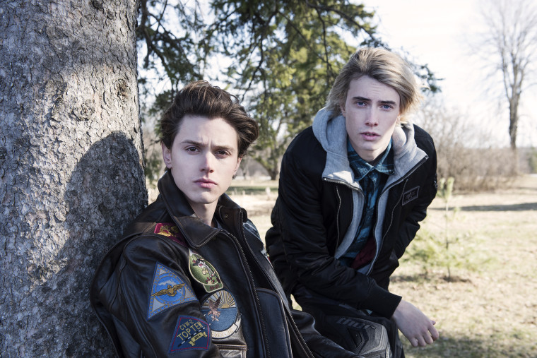 """(L-R) Tyler Young as Philip Shea and James Paxton as Lukas Waldenbeck in USA Network's """"Eyewitness"""""""