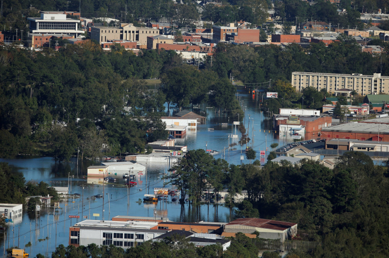Image: An aerial view shows flood waters after Hurricane Matthew in Lumberton