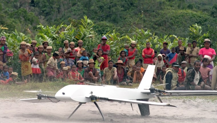 A Vayu drone takes off in a remote village in Madagascar.