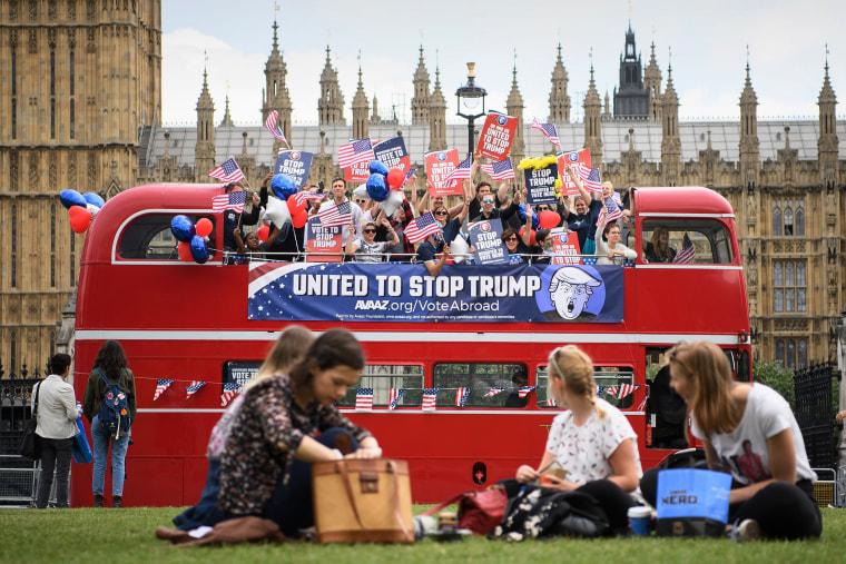 """Image: The """"Stop Trump"""" campaign bus tours London"""
