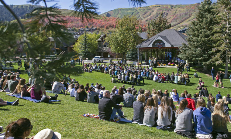 Image: Community members gather at City Park during a memorial service for Grant Seaver in Park City