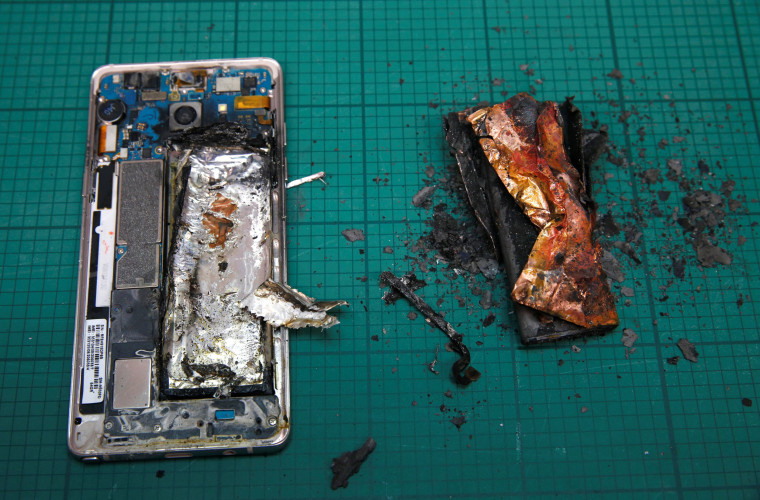 Image: A Samsung Note 7 handset after catching fire