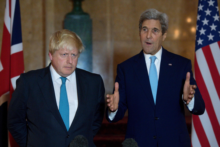 Image: British Foreign Secretary Boris Johnson (L) and U.S. Secretary of State John Kerry