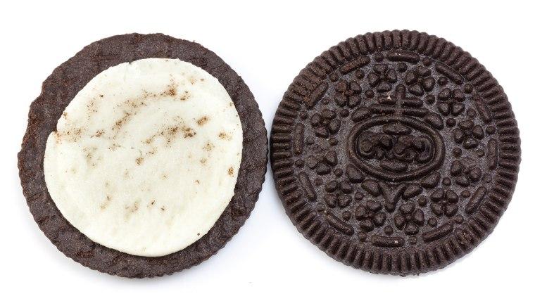 halved oreo cookie