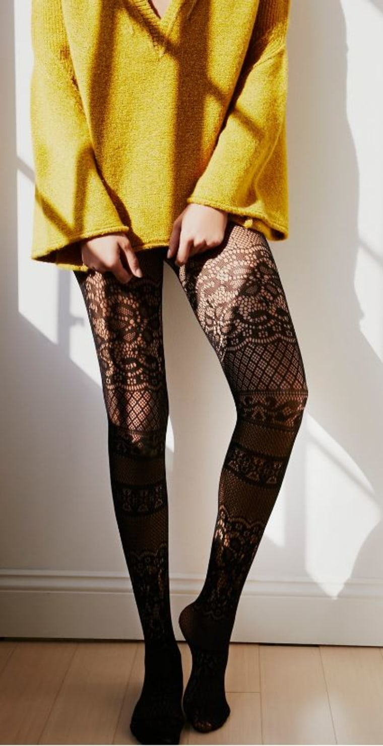 Free People Floral Patch Tights