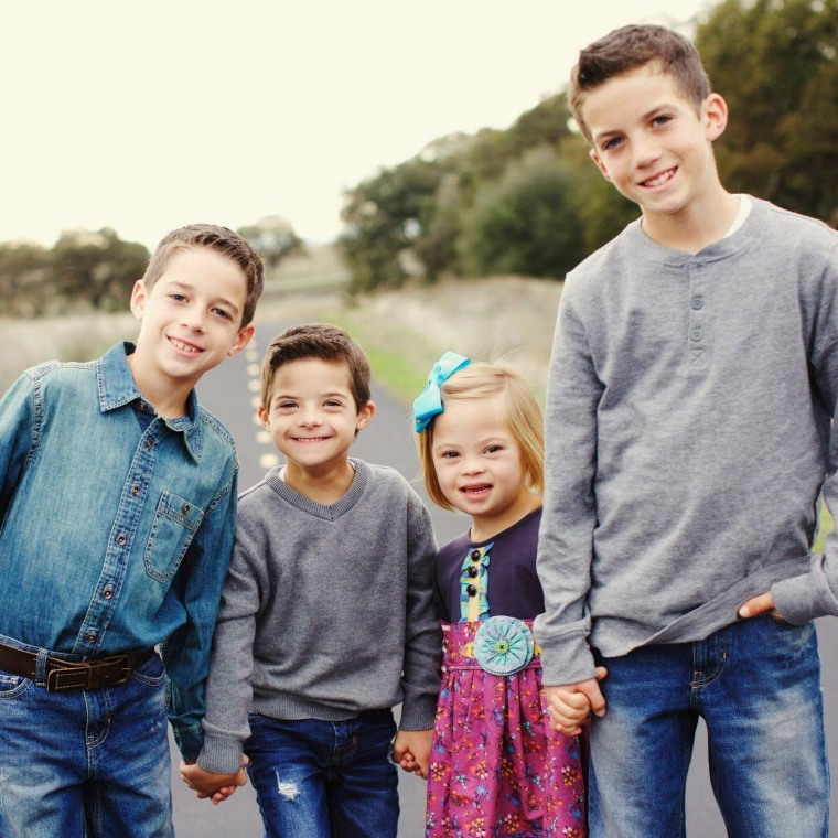 Sofia, 7, with her three brothers, Diego, 13, Mateo, 11, and Joaquin, 8.