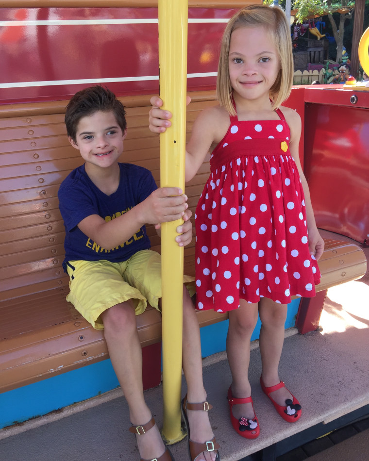 Sofia and her brother, Joaquin, who also has Down Syndrome, on a recent family vacation to Disneyland.