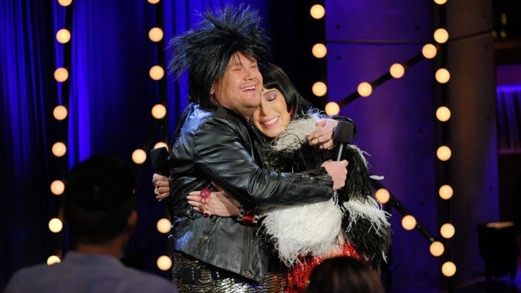 Cher performs with James Corden