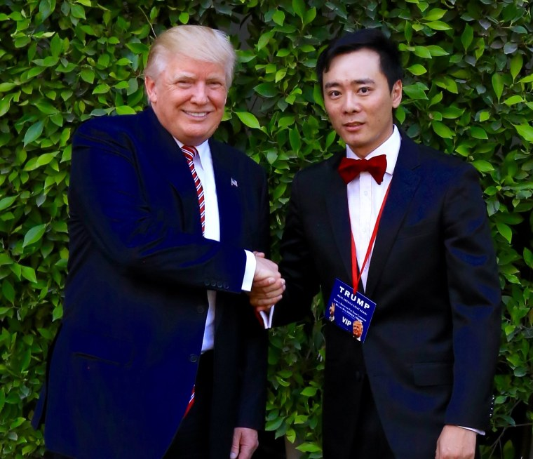Tian Wang, one of the founders of Chinese Americans for Donald Trump, meeting the presumptive Republican presidential nominee.