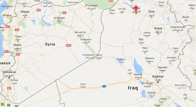 Image: Map showing Mosul, Iraq
