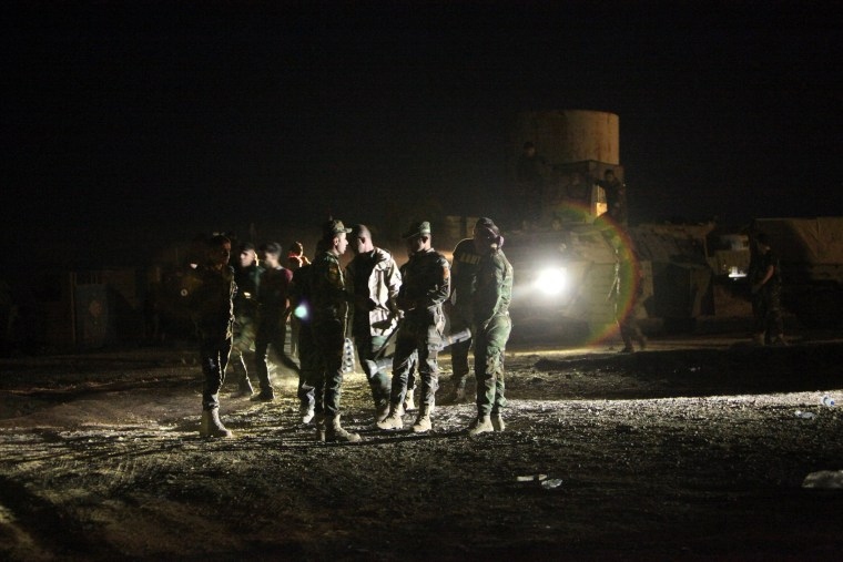 Image: Peshmerga forces gather on the east of Mosul during preparations to attack Mosul