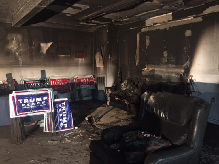 Image: Fire damage at the Republican Party office in Orange County, North Carolina