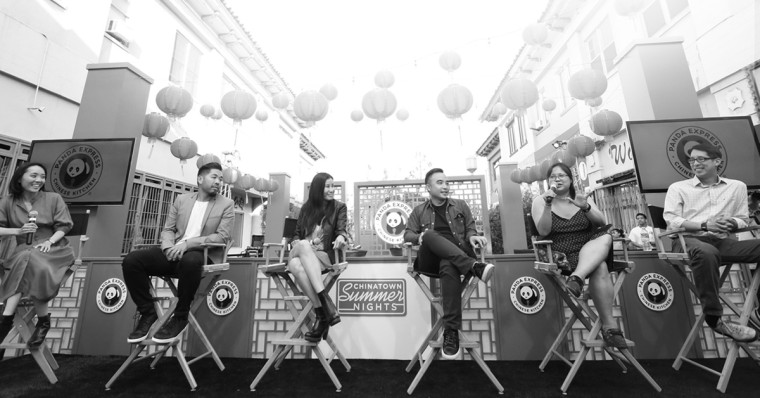 """From left, Panda Restaurant Group CMO Andrea Cherng with Alvin Huang, Lisa Ling, Melvin Mar, Jennifer 8 Lee, and Gene Luen Yang for the """"American Chinese"""" campaign."""