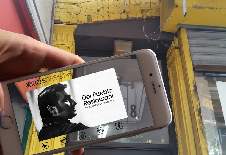 Oliver Rios' augmented reality photo in front of where his father (Alvarado's) restaurant, Del Pueblo once stood. The app takes you to more photos from the 70's taken by his dad.