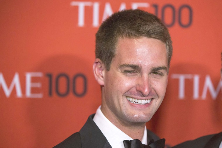 Image: Evan Spiegel arriving at the Time 100 gala in 2014.