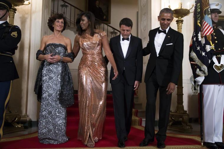 Image: US President Barack Obama hosts Italian Prime Minister Matteo Renzi for official visit and state dinner