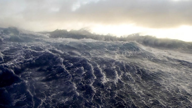 Image: The ATSB issued images showing giant waves caused by rough weather in the MH370 search area.