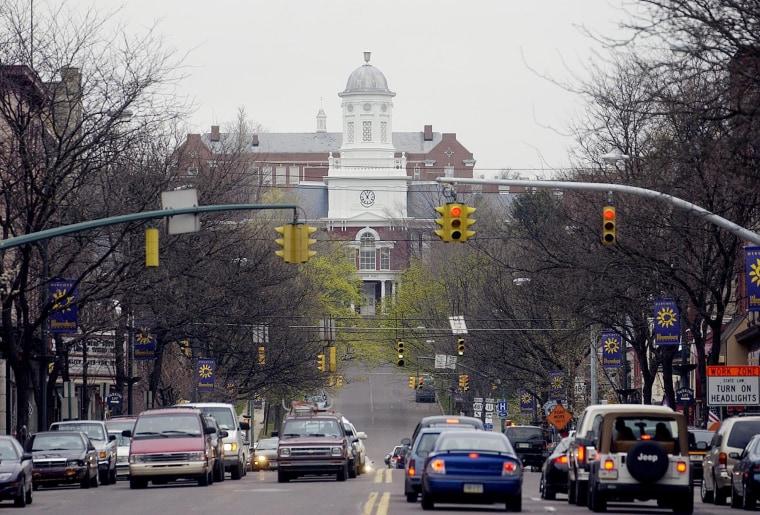 Image: Bloomsburg University's Carver Hall overlooks downtown