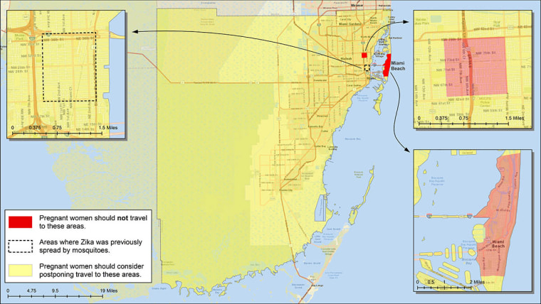 Image: Miami-Dade County, FL. Red shows areas where pregnant women should not travel