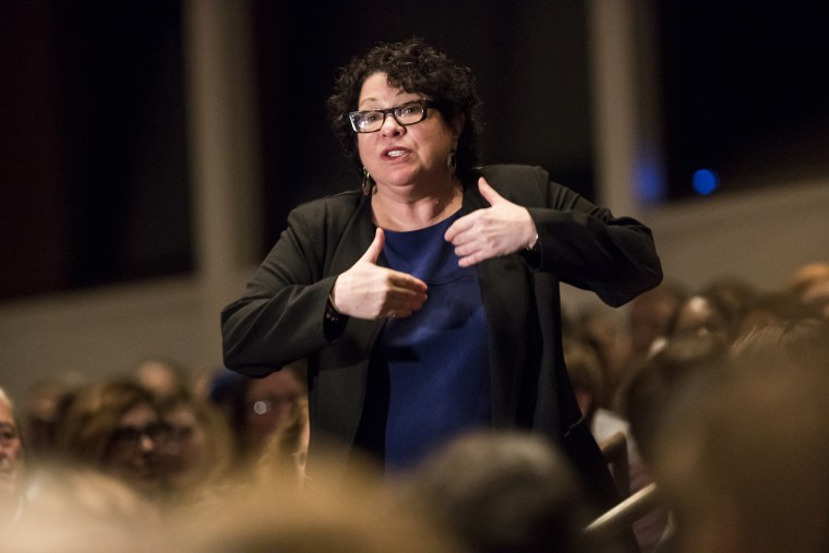 Image: U.S. Supreme Court Associate Justice Sonia Sotomayor speaks before audience at Northrup Auditorium at the University of Minnesota on Monday