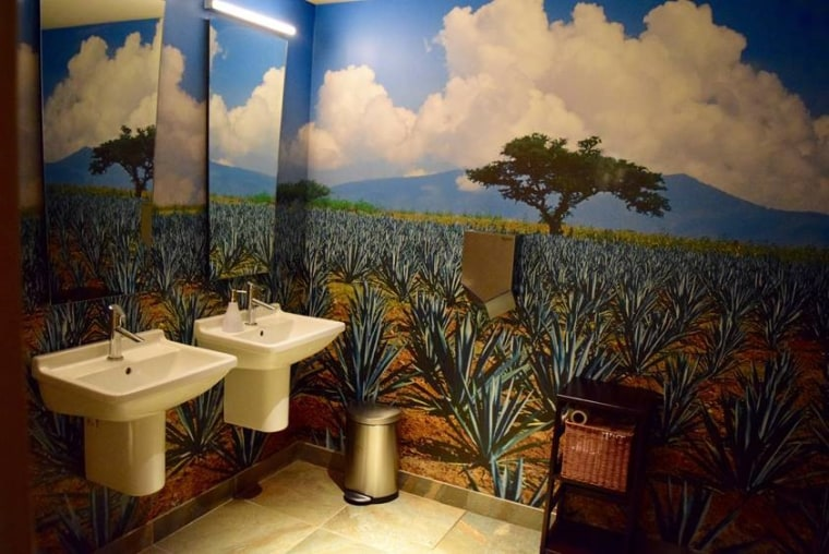 At Lena Brava restaurant in Chicago, the colorful agave-themed wallpaper makes bathroom patrons feel as if they're in a field in Mexico instead of in Chicago's West Loop.