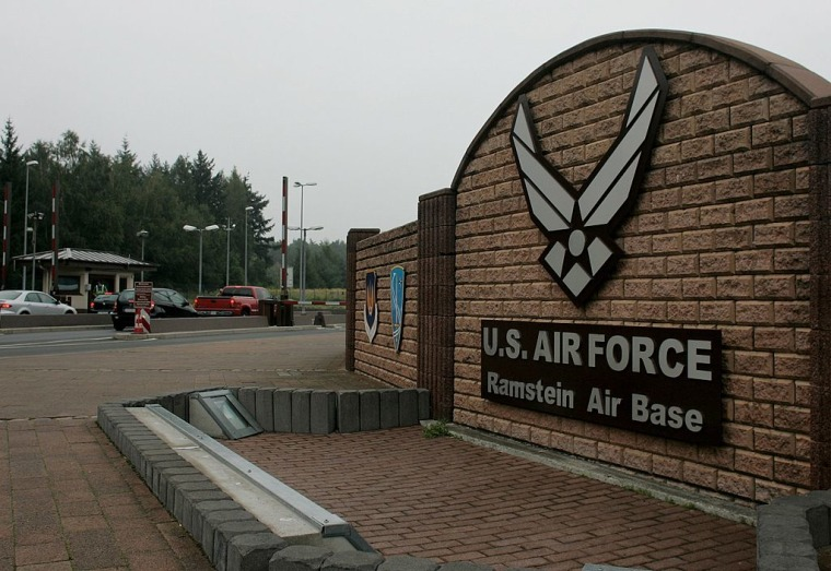 The main gate of U.S. Ramstein Air Base in Ramstein, Germany.