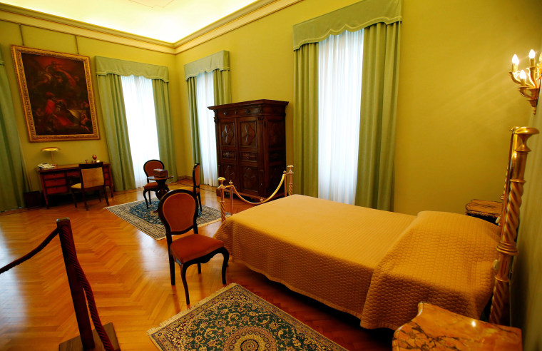 Image: Pope's bedroom is pictured in Castel Gandolfo, near Rome