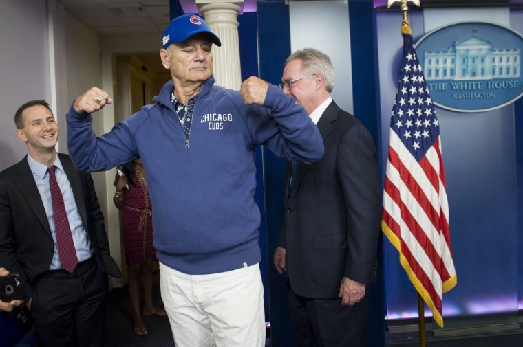 Image: Bill Murray visits the Brady Press Briefing Room at the White House