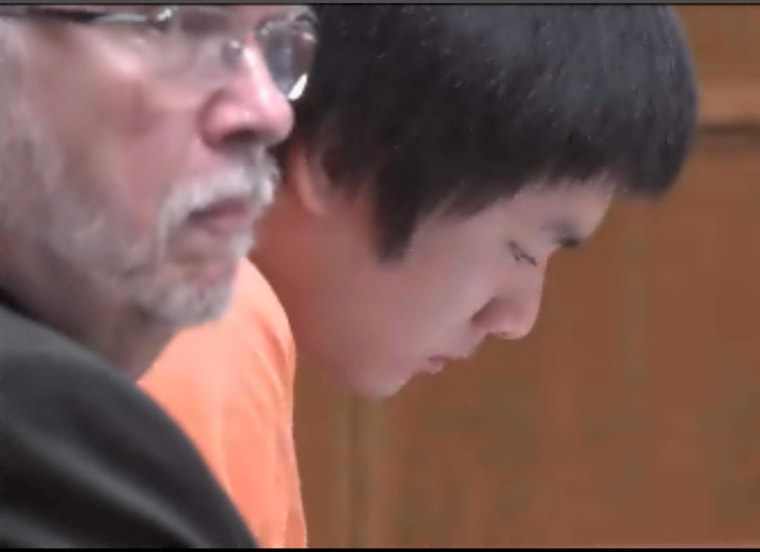Dylan Yang listening to a victim impact statement during his sentencing.