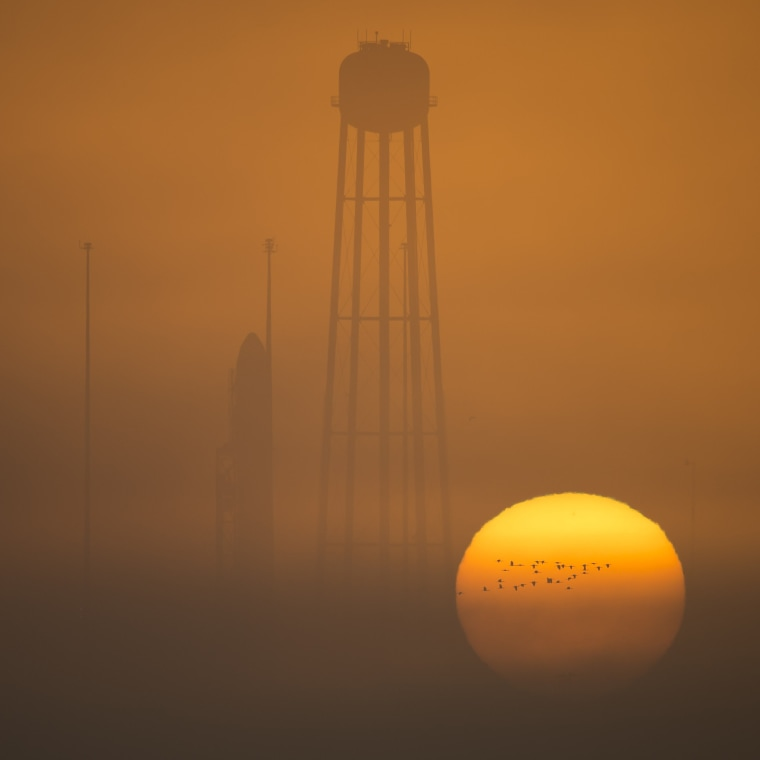 Image: The Orbital ATK Antares rocket, with the Cygnus spacecraft onboard stands on launch Pad-0A during sunrise