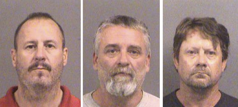 Image: Booking photos of Curtis Allen, Gavin Wright and Patrick Eugene Stein