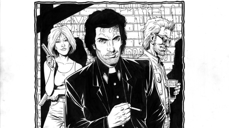 "Original ""Preacher"" art by Steve Dillon"