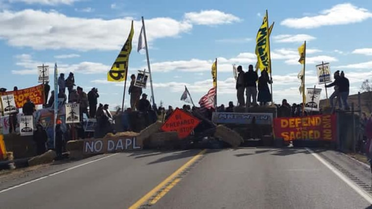 Protesters set up a blockade along State Highway 1806 on Sunday, October 23.