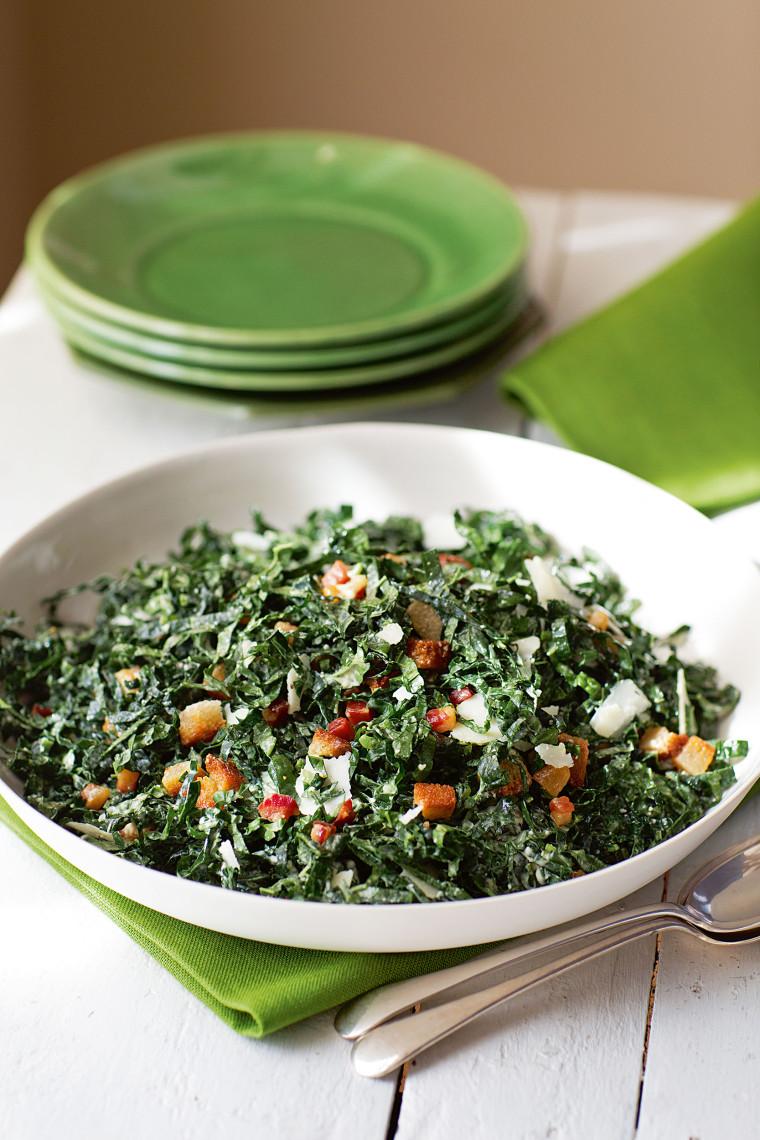 Kale salad with pancetta and pecorino