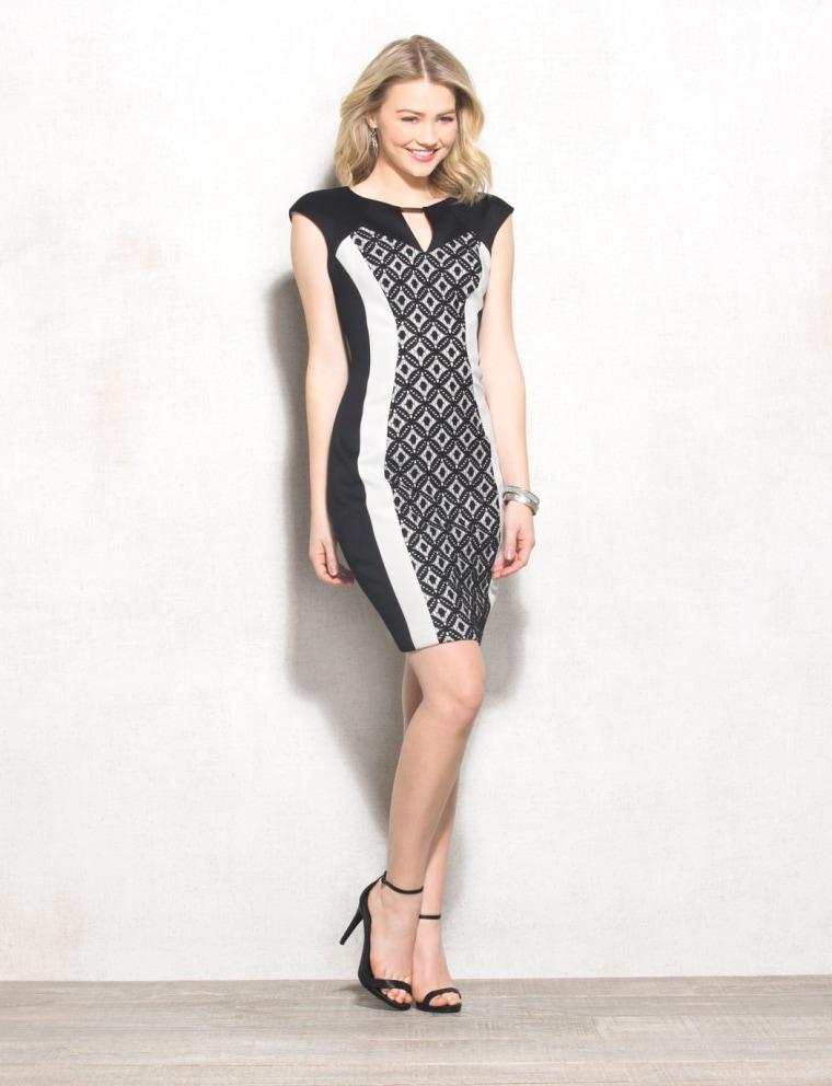 Black and White Scuba Lace Dress