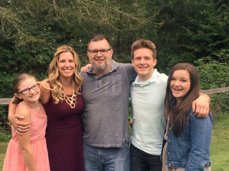 Jenny Ingram with her husband, and her children Joel, 17, Olivia, 14, and Lucy, 11.
