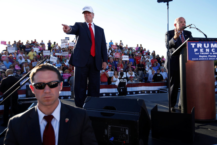 Image: Former New York mayor Rudy  Giuliani says a few words of support for Republican U.S. presidential nominee Trump at a campaign rally in Naples, Florida