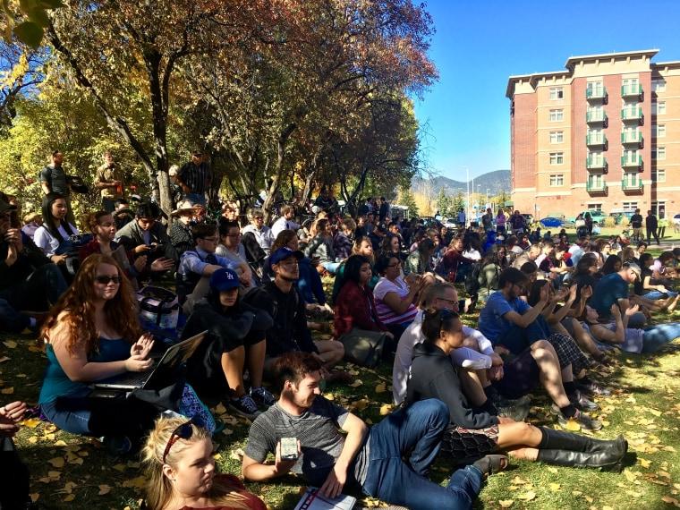 Students overflow outside the Bernie Sanders rally for Hillary Clinton at Northern Arizona University, Flagstaff, Arizona