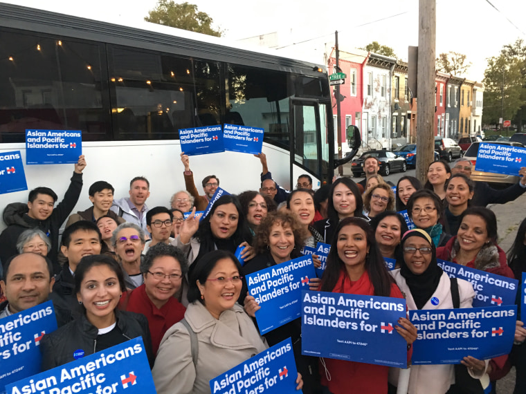 Volunteers bus from New York and New Jersey to Pennsylvania to stump for Hillary Clinton .